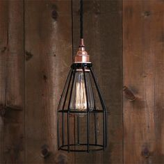 Lima cage pendant light is designed and manufactured in Ireland. The cage adds an industrial feel and this fitting looks great when lit with an edison filament lamp. Bulb Sold Separately.