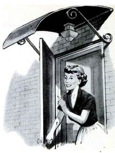 """Trunk Lid Awning - """"One home craftsman used the trunk lid of an old sedan to make a serviceable and inexpensive canopy for the back door of his home."""" The trunk was dressed up, at least, with wrought-steel supports - 1954 Popular Mechanics"""