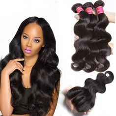 Nadula Top Quality 16in-18-20in Virgin Human Hair Weave With 14in Lace Frontal Closure