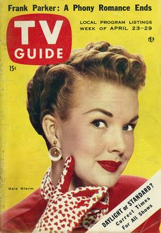 April 1955 TV Guide cover featuring actress Gale Storm - her red and white heart patterned gloves are awesome!!! #vintage #1950s #gloves #fashion