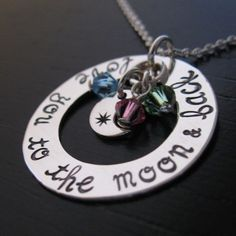 DIANA Love You to the Moon & Back hand stamped mother with birthstone crystals