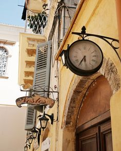 Greece Travel Photography - Clock Art - European - Butter Yellow Silver Blue - Rustic Wall Decor - Time - Corfu - Mediterranean Photo