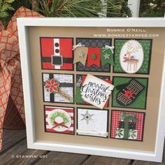 Far-flung Scrapbook Kits Backgrounds Box Frame Art, Shadow Box Frames, Diy Frame, Christmas Paper Crafts, Stampin Up Christmas, Christmas Projects, Christmas Ideas, Christmas Signs, Christmas Decorations