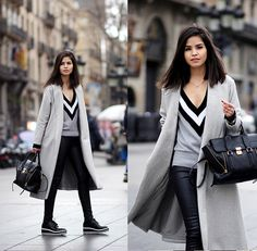 Adriana Gastélum - Zaful V Neck Sweater, Sheinside Long Grey Coat, Express Faux Leather Leggings, Zaful Flatform Sneakers, 3.1 Phillip Lim Pashli Medium - 080 Barcelona, Day 3