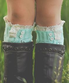 Look at this Just Couture Mint Knit Leg Warmers on #zulily today!