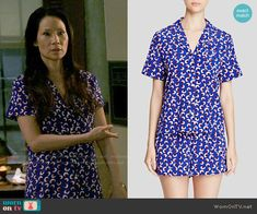 Joan's blue printed shortie pajamas on Elementary.  Outfit Details: https://wornontv.net/55719/ #Elementary
