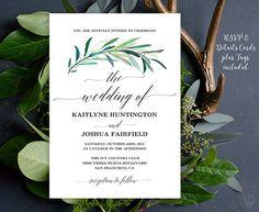 Greenery Wedding Invitation Printable Eucalyptus Greenery