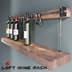 Loft wine rack- Loft wine rack - You are in the right place about DIY Wine Rack standing Here we offer y Wine Bottle Rack, Wine Rack Wall, Wine Glass Rack, Wood Wine Racks, Diy Wine Racks, Beer Bottle, Vin Palette, Industrial Wine Racks, Industrial Loft