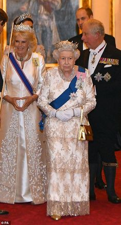 Queen Elizabeth II and Camilla, Duchess of Cornwall greet guests at an evening reception for members of the Diplomatic Corps at Buckingham Palace on December 2018 in London, England. Get premium, high resolution news photos at Getty Images Princess Diana Tiara, Prince And Princess, Royal Uk, Royal Queen, King Queen, Royal Tiaras, Royal Jewels, British Crown Jewels, Royal Crowns