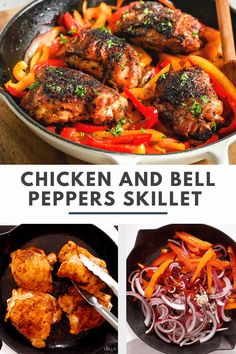 Chicken and Bell Peppers Skillet is one of those dishes that will go to your family dinner rotation because it happens to please everyone. It's seasoned with lots of spices and it's also low-carb, paleo, and whole30 friendly. #chickenandbellpeppers #chickenthighsrecipe Best Paleo Recipes, Gluten Free Recipes For Breakfast, Whole 30 Recipes, Easy Chicken Dinner Recipes, Healthy Chicken Recipes, Easy Meals, Keto Chicken, Skillet Recipes, Cooking Recipes