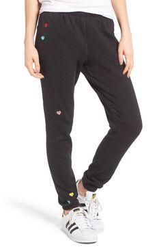 Main Image - Wildfox Knox - Heart Embroidered Sweatpants