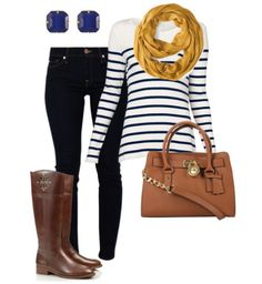 Fall fashion - striped long sleeve, dark skinny jeans, brown boots, yellow scarf