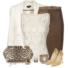 A fashion look from November 2014 featuring STOULS skirts, Jimmy Choo pumps and Tamara Mellon tote bags. Browse and shop related looks.