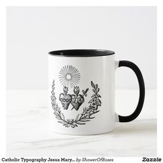 Tea Mugs, Coffee Mugs, Heart Of Jesus, Catholic Gifts, Two Hearts, Photo Mugs, Keep It Cleaner, Angels, Typography