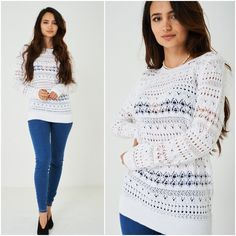 Ivory Casual Crochet Jumper Open Holey Knit Cotton Blen Pullover Sweater UK 8-14 #Exbranded #Jumper #Casual
