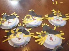 Cute paper plate scarecrows!