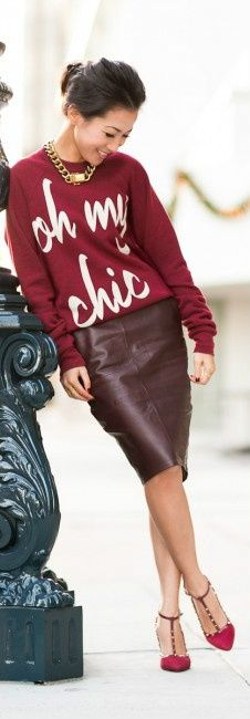 sweat shirt with pencil skirt - my favorite kind of outfit ♥