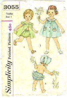 Simplicity 3055 | Simplicity 3055; ©1959; Toddlers Dress, Panties and Bonnet: ... | Cre ...