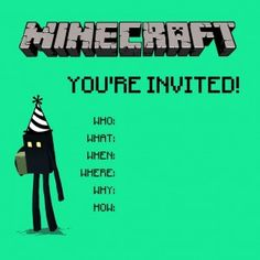 Cute Mincraft invitations for your child's next birthday party at PowerPlay! Child's birthday party Kansas City
