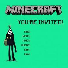 Invitasjon til Minecraft bursdag, ideer