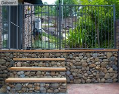 Garden stone wall ideas how rock retaining wall garden ideas Gabion Retaining Wall, Retaining Wall Design, Gabion Stone, Decorative Stone Wall, Gabion Cages, Landscape Design, Garden Design, Gabion Baskets, Stone Wall Design