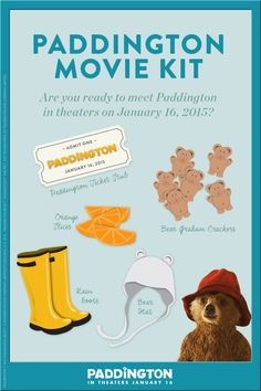 Looking for ways to make the Paddington premiere more fun for your little ones? See Paddington, well fed and dressed the part. First, take orange slices and bear graham crackers and create healthy, simple snack bags. Next, dress them in their favorite rain boots and bear attire. Last, grab your movie tickets and head to the theaters to meet Paddington. Based on the classic child In theaters January 16, 2015!