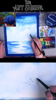 Easy beginner step by step video to show you how YOU can paint a seascape in watercolor easily by The Art Sherpa. Check out the Art Sherpa website for 900 more free art lessons ross paintings tutorials videos easy How to paint a Simple Watercolor Seascape Easy Canvas Painting, Simple Acrylic Paintings, Acrylic Painting Techniques, Watercolor Techniques, Pour Painting, Drawing Techniques, Watercolor Video, Watercolor Projects, Watercolour Tutorials