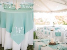 Teal Beach Wedding Reception | Sharon Elizabeth Photography