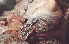 "paintingispoetry: "" Franz Xaver Winterhalter, Queen Victoria and her cousin, the Duchess of Nemours detail, 1852 """