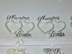 48 Plastic Cake Topper Nuestra Boda 2 Hearts White with Gold Favor Decorations *** You can get additional details at the image link. Fabric Ribbon, Ribbon Bows, Ribbons, Diy Sweatshirt, Chocolate Covered Strawberries, Decorating Tools, Shirts For Girls, Cake Toppers, Sewing Crafts