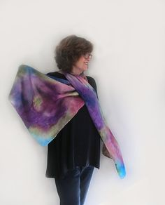 A Shawl A scarf  Pure Silk Hand-Painted by VivienPollackDesign