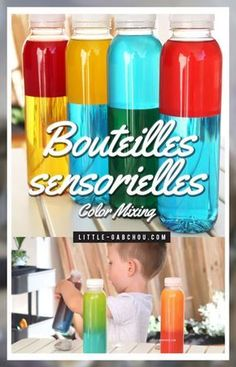 Comment apprendre les couleurs primaires et secondaires grâce aux bouteilles sensorielles en couleurs à mixer .