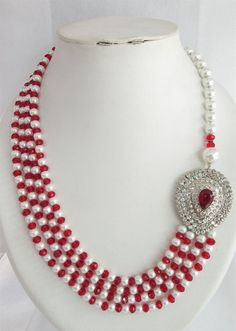 Bridal Red White Pearl Beaded Necklace Jewelry Set by Beauteshoppe