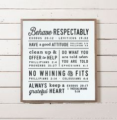 This wall sign features a set of rules that Ellie and her husband Chris came up with for their home. The rules worked so well for their family that she wanted to share them with other families so they could reap the benefits as well. Each simple rule is accompanied by a scripture that supports it and offers some insight. Not only does it show children what is expected of them, it also gives parents an opportunity to help their children grow spiritually by showing the link between good…