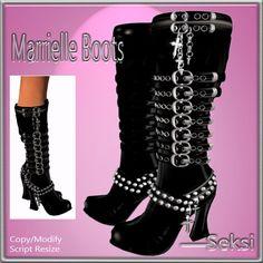 ---Seksi- Marrielle Black  Latex Boots