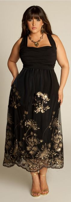 Plus Size Evening Dress, thought this was so pretty. ai loce the neck line especially