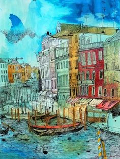 Christopher Tate Art - Venice Gallery | Christopher Tate Art | Cornish Artist Venice Painting, City Painting, Watercolor Pictures, Watercolor Art, Venice Travel, Collage Illustration, Sense Of Place, Urban Sketching, Navy