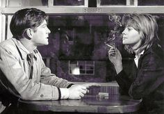 """billy Liar by Fisher """"You just buy a ticket and get on a train."""" Tom Courtenay and Julie Christie in Billy Liar John Schlesinger, Tom Courtenay, 60s Films, Alan Bates, Julie Christie, The Vanishing, Vintage Classics, Vintage Tv, I Movie"""