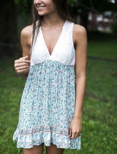 Aqua Paisley Print Dress   Lane201 Boutique