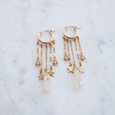 All The Dangles Hoop Earrings star earrings shooting star earrings crystal earrings hoops gold hoops gypset gypset jewelry Cute Earrings, Star Earrings, Crystal Earrings, Crystal Jewelry, Drop Earrings, Diamond Earrings, Double Earrings, Multiple Earrings, Golden Earrings