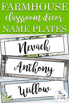 Do you love shiplap, buffalo plaid, farmhouse foliage, and corrugated metal as much as I do? If so, you'll love this versatile, editable name tag/ name plate set to match your farmhouse-themed classroom! It includes 36 different name tag/plate designs that are modern and fun, and they are all editable! You are able to add your own text to each tag/plate, so really, these name tags/plates could become so much more! #farmhouseclassroomdecor #farmhousethemeclassroom #classroomnameplates