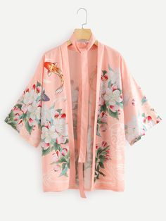 Kimono in pink with fish Kimono Diy, Mode Kimono, Kimono Jacket, Kimono Blouse, Kimono Fashion, Fashion Outfits, Inspiration Mode, Fashion Line, Petite Dresses