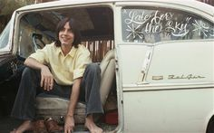 Jackson Browne sits in a Chevy Bel Air during a photo shoot for his 1974 album Late for the Sky