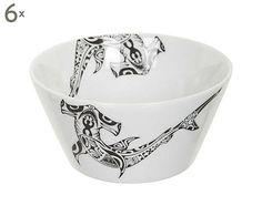 Set van 6 schalen Print, zwart/wit, diameter 14 cm