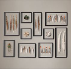 RH's Framed Feather Collection:Our feather collection showcases nature& delicate forms, nuanced colors and intricate patterns. Arranged in medallions, grouped with similar or contrasting specimens, these plumes embody the visual impact of art. Feather Crafts, Feather Art, Feather Wall Decor, Cuadros Diy, Home Decoracion, Decoration Bedroom, Art Decor, Diy Inspiration, Creation Deco