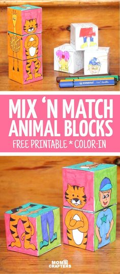 Print, color, and craft these adorable mix 'n match animal blocks! This is much more than a kids activity or a DIY toy - you can color this unique colouring page, create it, and then play with it! Perfect for toddlers and prechoolers, it's the ultimate pr