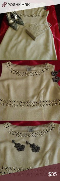 """Spectacular Winter-White Sheath NWOT  Talk about making a statement! Just in time for the holiday season is this classic dress embellished with pearls, rhinestones, and beads. The colors are white, black, and silver emphasized around the jewel neckline and the upper bodice. Dress is fully-lined and zips on the side. Shell Exterior 100% Acrylic / Lining 100% Polyester / Length 36 1/2"""" I.C.E. Dresses Midi"""