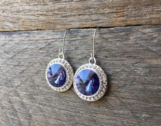 Tanzanite Crystal Earrings Swarovski Rhinestone Dangle on Silver or Gold French Wire Hook by haileyallendesigns