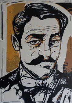 Marcel PROUST (Peinture), 58x41x2 cm par Olivier CARPENT Pochoir entièrement découpé à la bombe & peint à la bombe aérosol (7 couleurs) sur bois, d'après une illustration de Ramon MUNIZ.