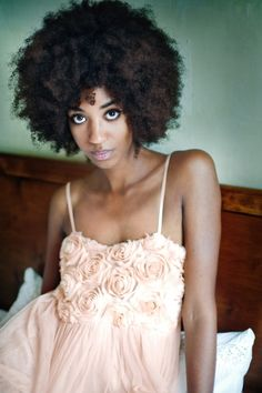 Beautiful big fro. (African-American women natural hairstyle).